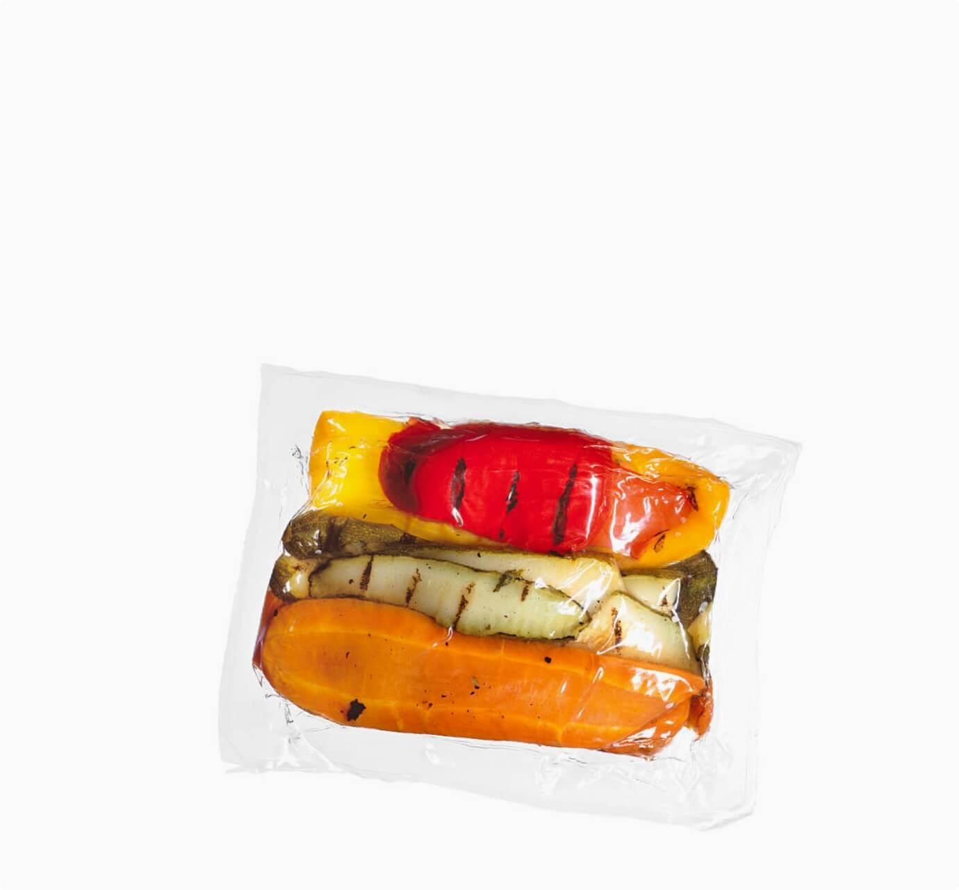 roasted vegetables in vacuum sealed package