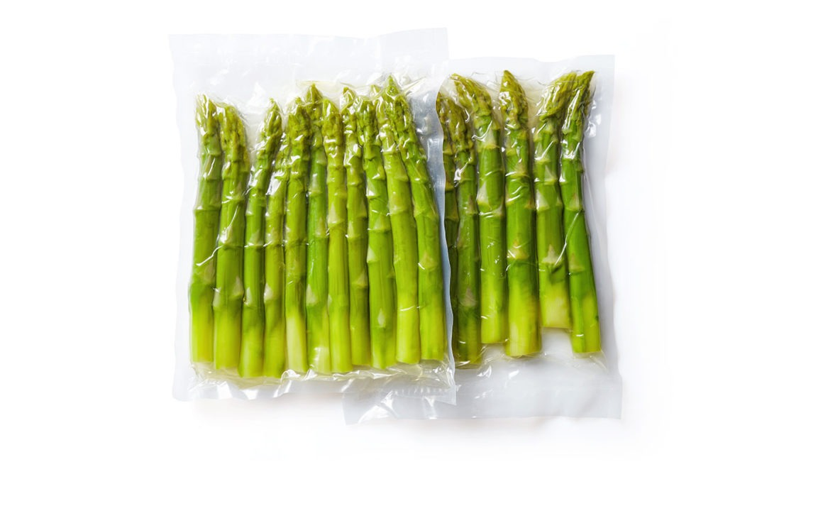 Asparagus in a vacuum sealed pouch.