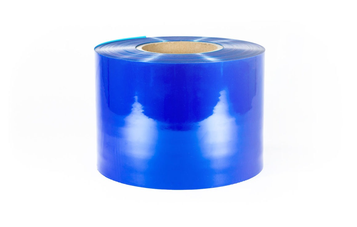 Roll of blue pouch rollstock film packaging.