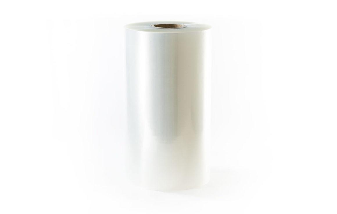 Roll of clear pouch rollstock film packaging.